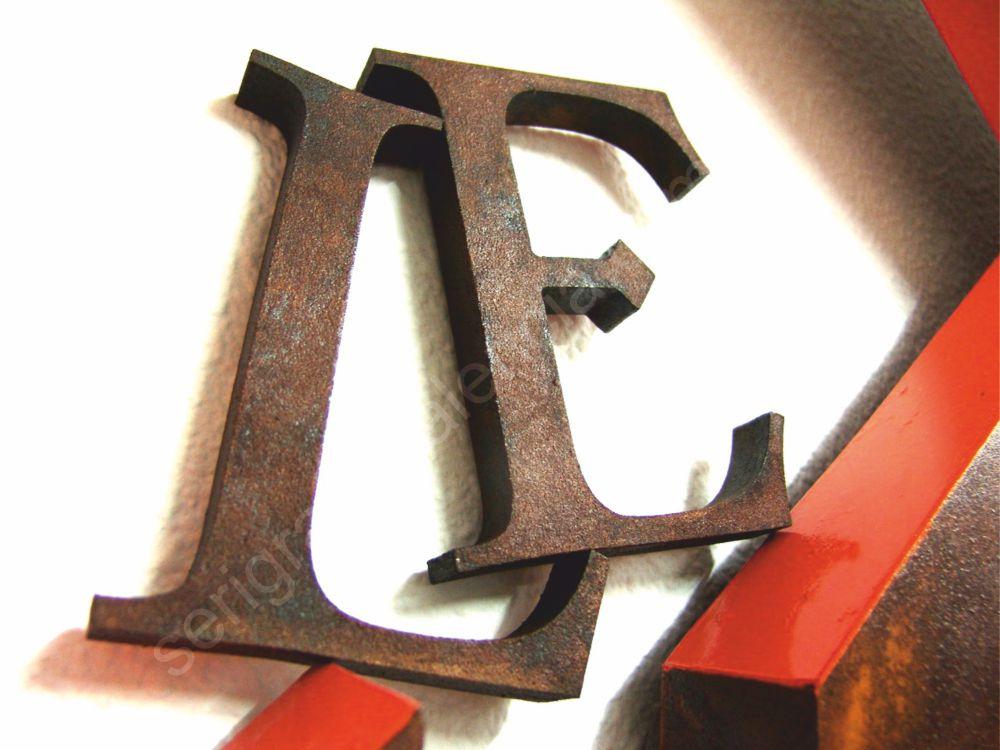 Letras recortadas en pvc efecto acero oxidado acero - Letras para serigrafia ...